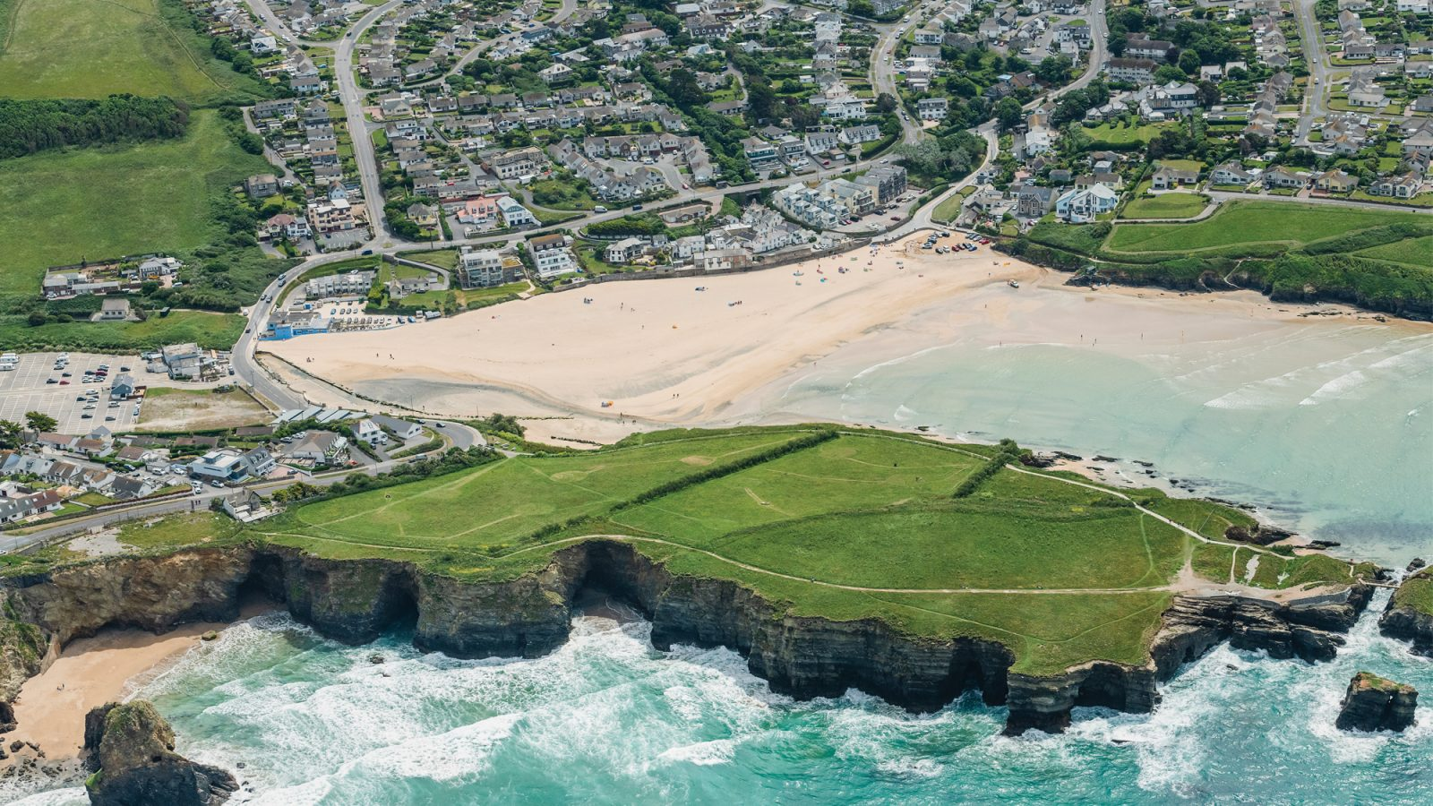 Drone photo of Porth in Newquay, Cornwall