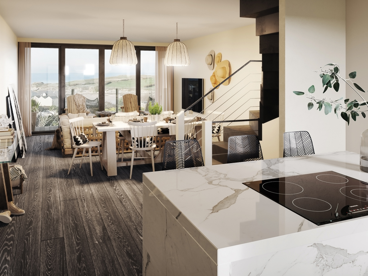 Stephens and stephens developers the strand porth newquay cornwall townhouse interior cgi 1200x900