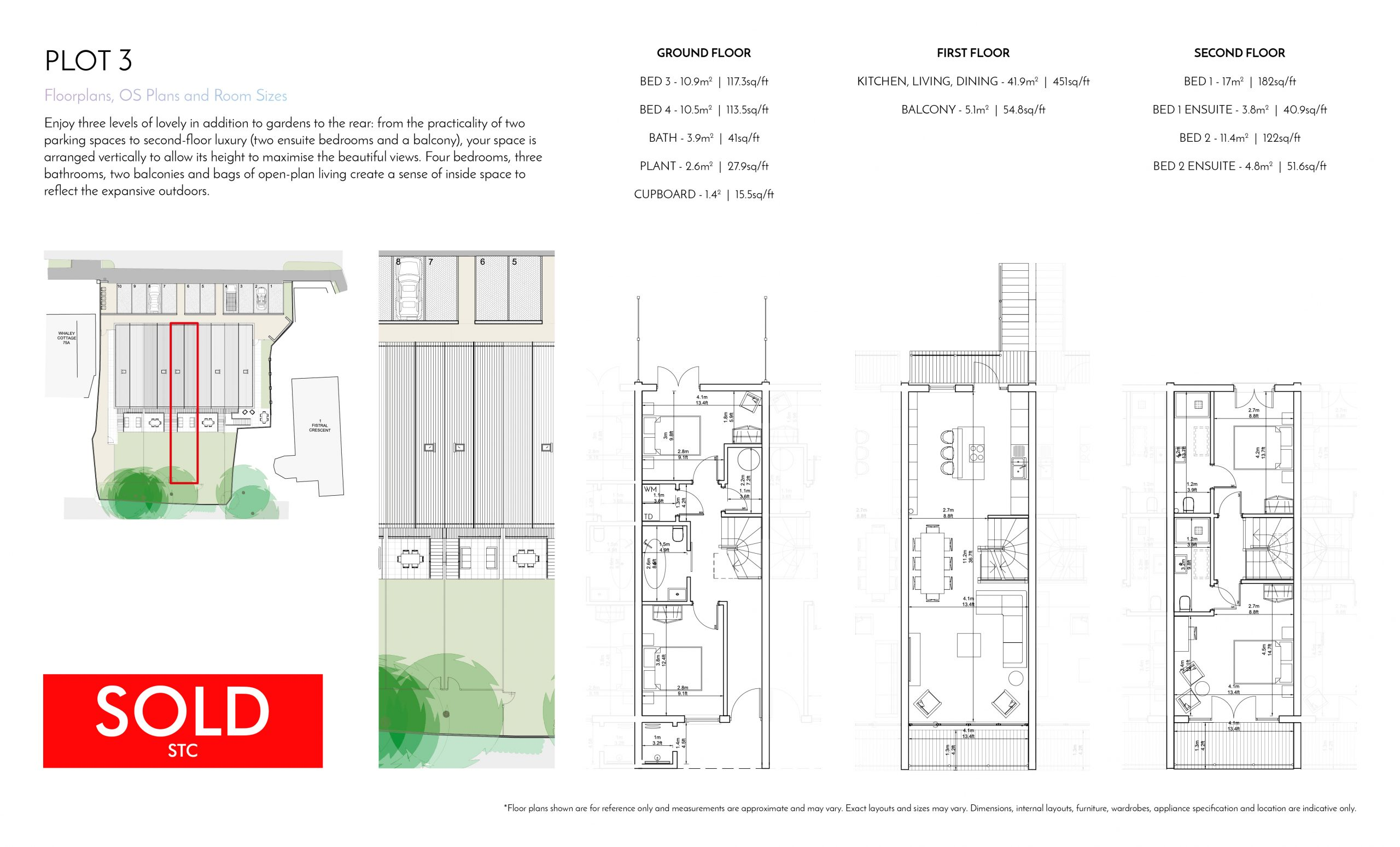 Stephens and Stephens Developers Breakwater Pentire Newquay Cornwall Floorplans Plot 3 SOLD