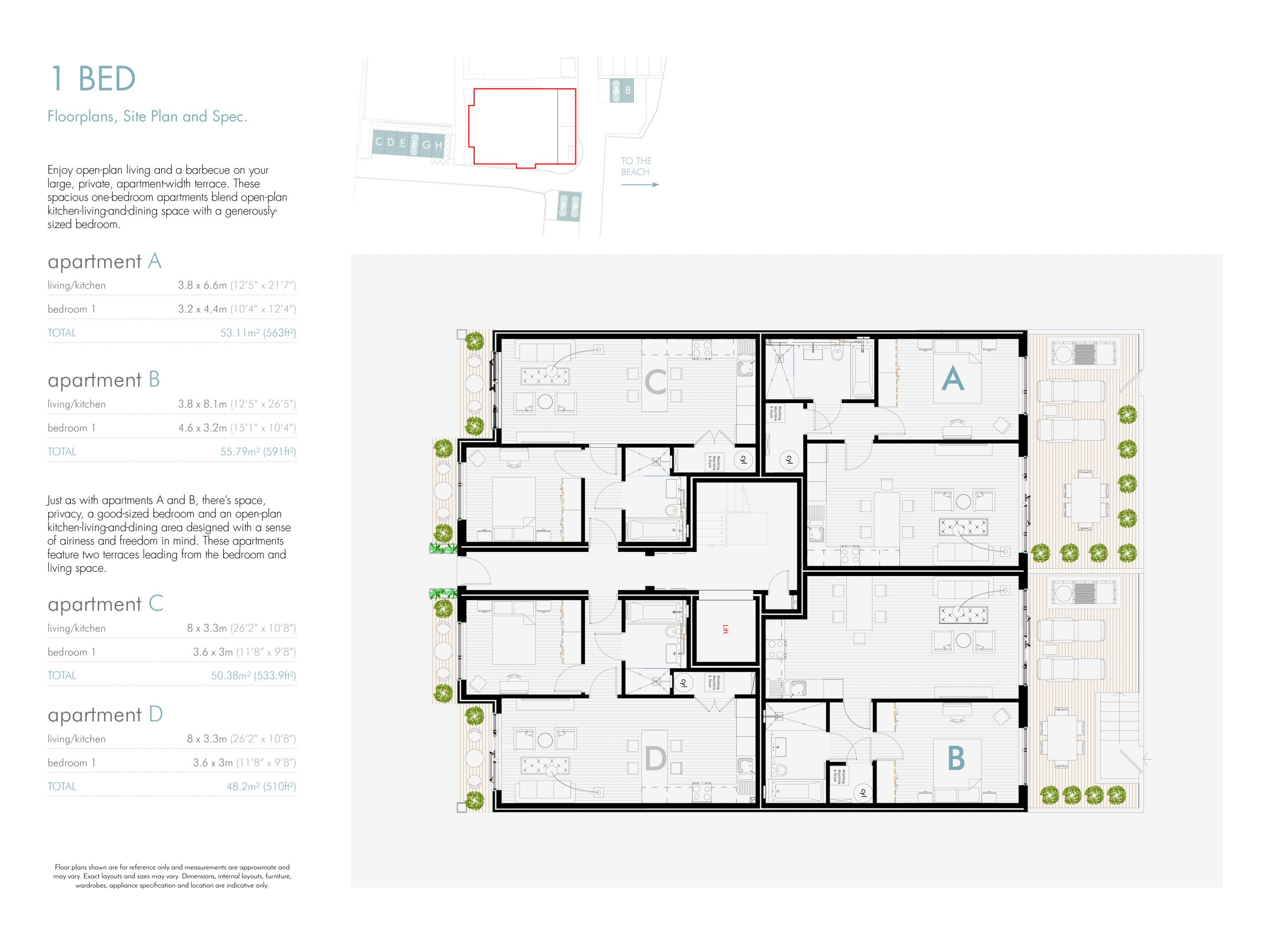 Stephens and stephens developers Saltwater pentire avenue newquay cornwall Floorplans 1200x900 1 bed