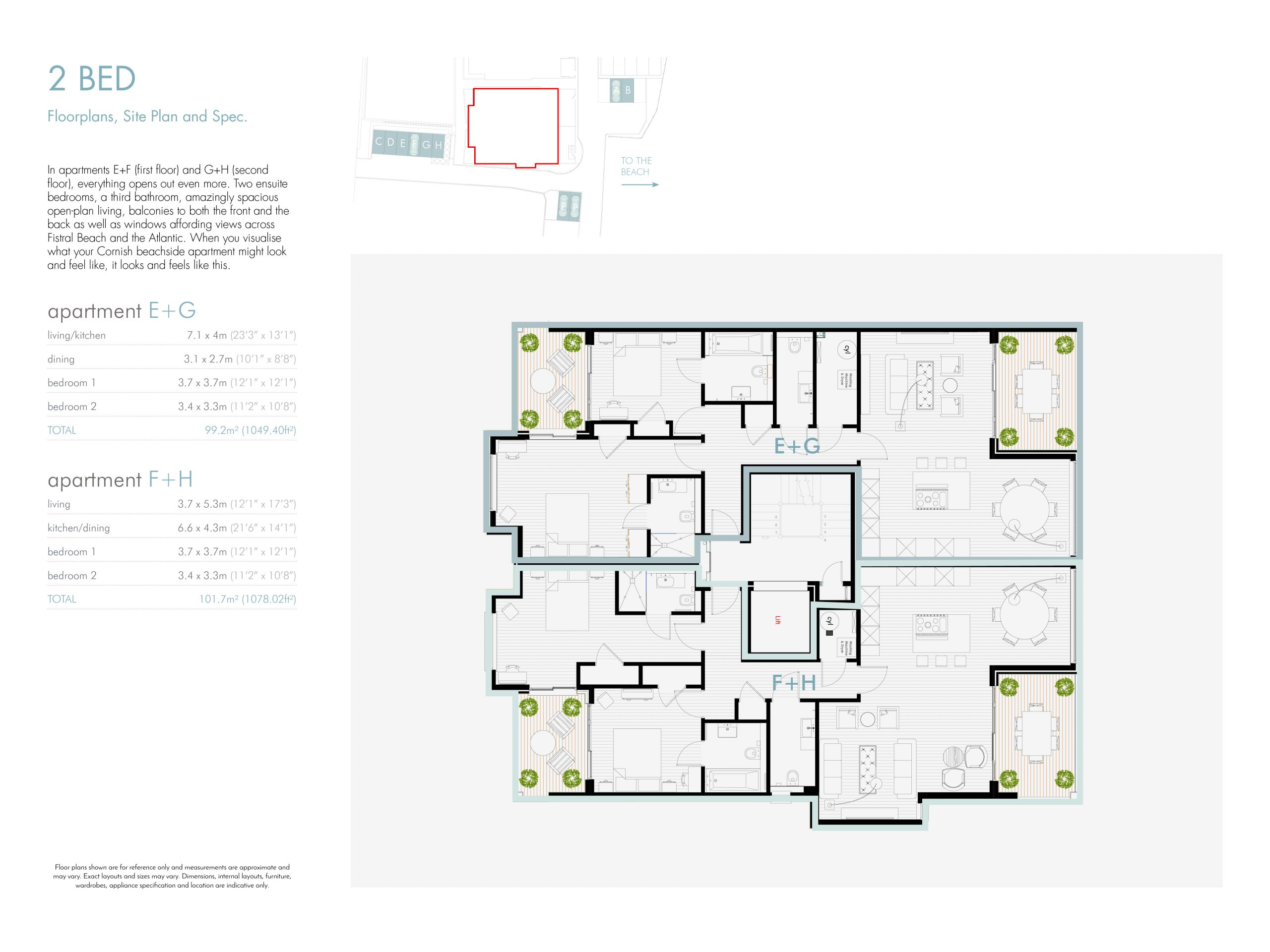 Stephens and stephens developers Saltwater pentire avenue newquay cornwall Floorplans 1200x900 2 bed