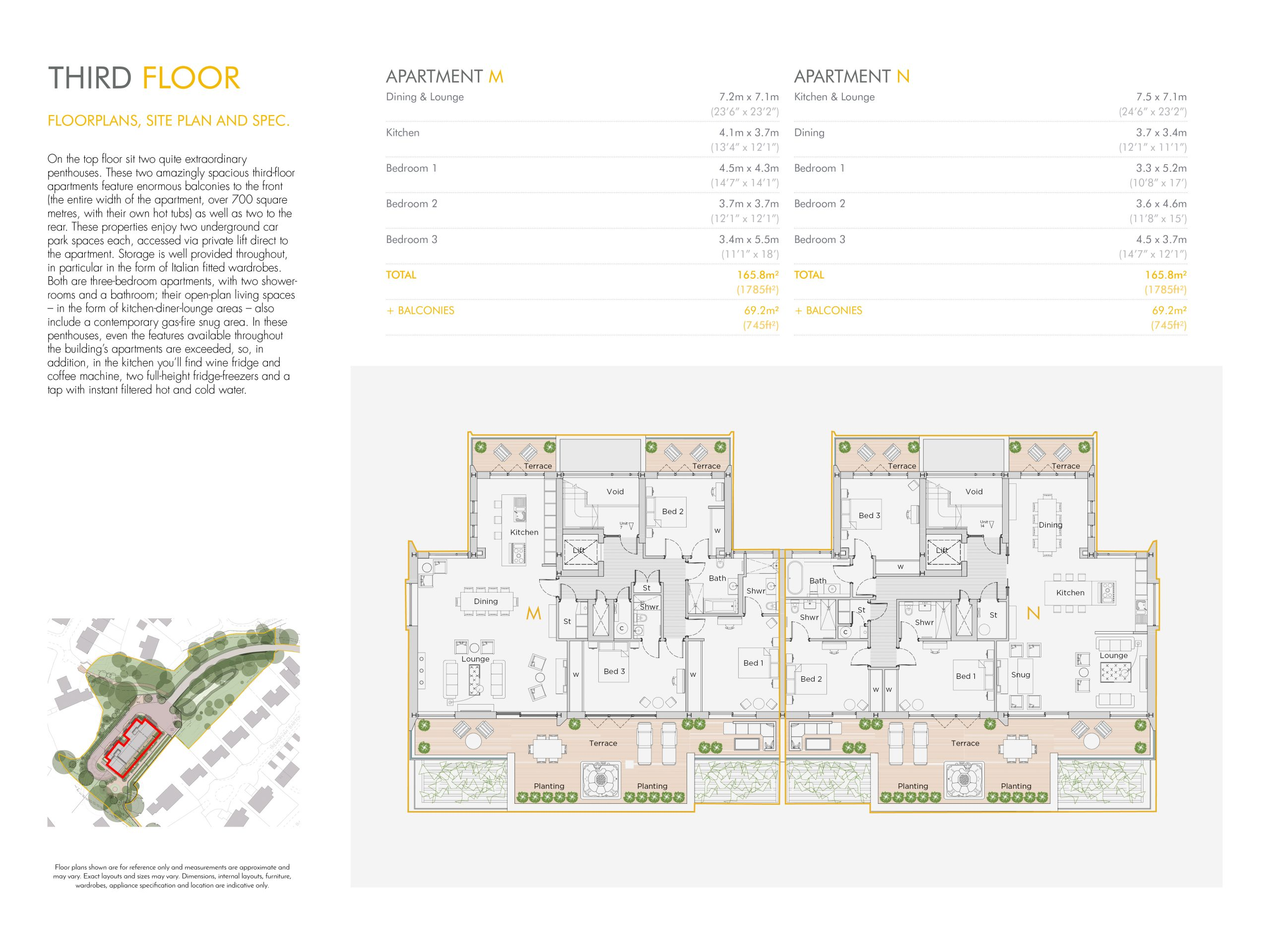 Stephens and stephens developers The Hideaway Truro cornwall Floorplans 1200x900 third floor