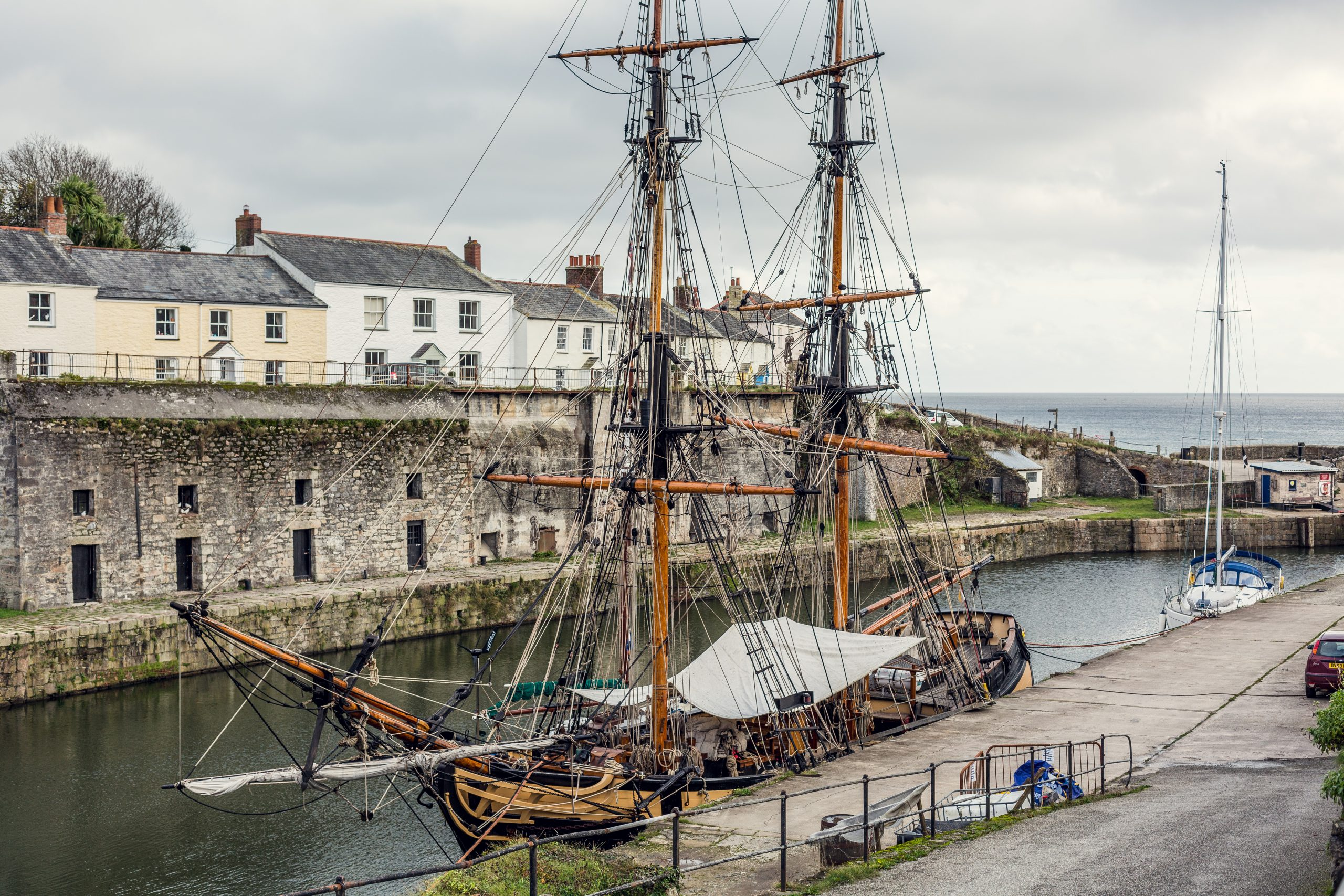 Image of a Charlestown tall ship in the harbour