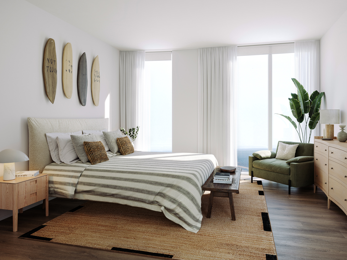 Stephens and Stephens Developers One Pentire Newquay Cornwall penthouse bedroom CGI