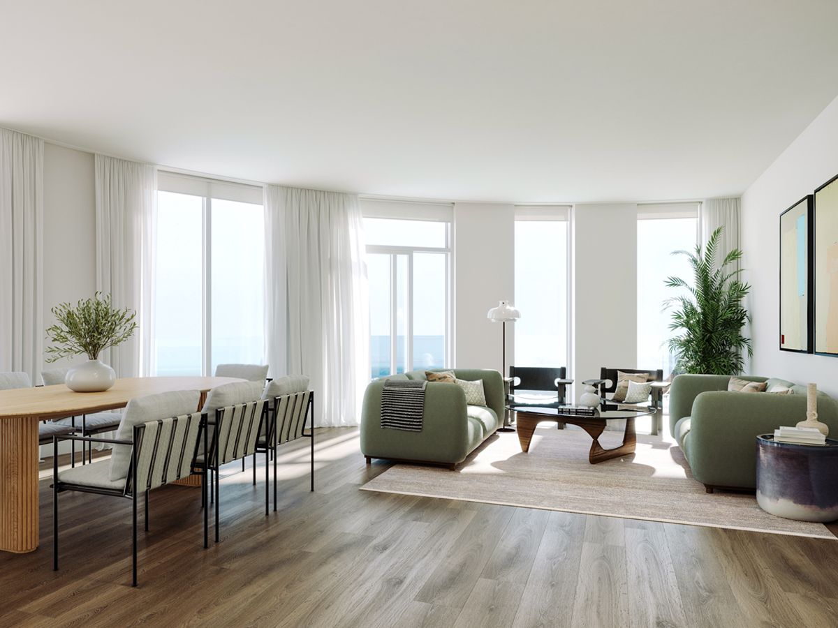 Stephens and Stephens Developers One Pentire Newquay Cornwall penthouse living room CGI