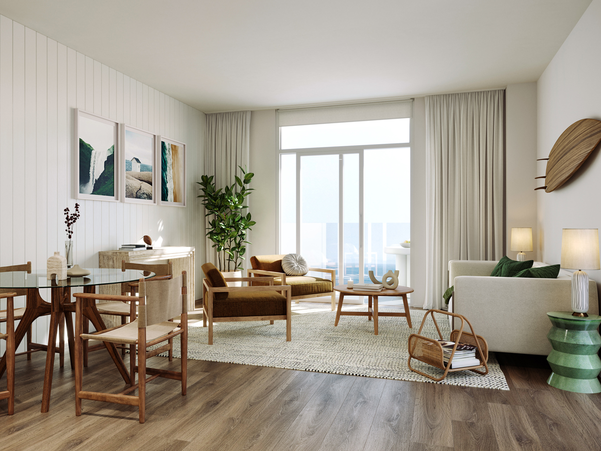 Stephens and Stephens Developers One Pentire Newquay Cornwall two bedroom apartment living room CGI